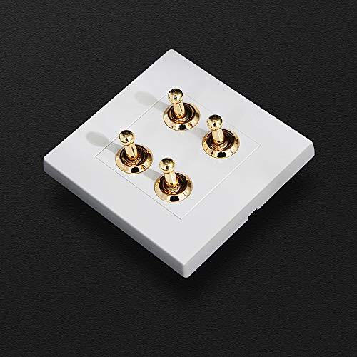 Tritow Interruptor de luz de Pared 86 Tipo Interruptor de Pared de Palanca Retro Interruptor de Palanca Blanco Cuadrado Latón Metal 1-4 Gang 2 vías Lámpara de Control Doble Individual Interruptor
