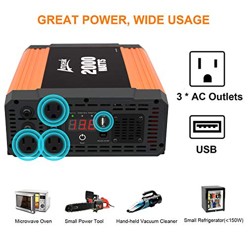 Ampeak 2000W Power Inverter 3 AC Outlets DC 12V to 110V AC Car Converter 2.1A USB Inverter