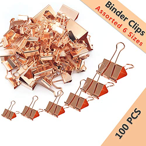 Rose Gold Binder Clips Paper Clips Assorted Sizes Set(Jumbo, Large, Medium, Small, Mini), 6 Different Sizes Paperclips for Office, 100 Pcs