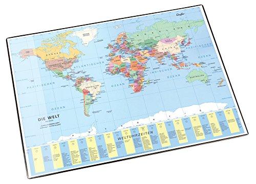 Läufer 45351 Landkarten-Schreibtischunterlage Welt politisch, rutschfeste Schreibunterlage mit Weltkarte, 40x53 cm, mit transparenter Seitentasche