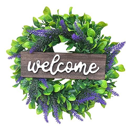 Non-brand Guirnalda de Lavanda para la Puerta Frontal Guirnalda Artificial de eucalipto Signo de Bienvenida de Madera Toda la Temporada Guirnalda Floral para la