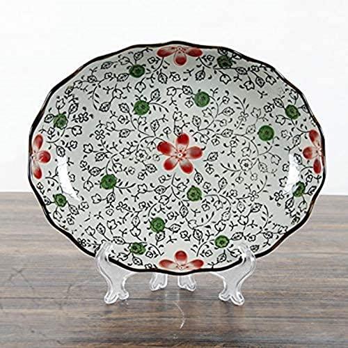 XQMY Vajilla de cerámica Antigua Japonesa Plato de cerámica Pintado a Mano Bajo vidriado Color Lotus Huevo Bandeja Flor roja 23X3.6Cm