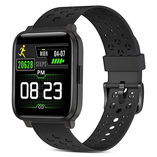 ZKCREATION Smartwatch,1.3 Zoll Voll Touchscreen Fitness Armbanduhr mit Pulsmesser,Sportuhr Smart Watch, Fitness Tracker mit Schrittzähler,Schlafmonitor Musiksteuerung Stoppuhr für Damen Herren