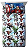 Marvel Avengers Heroic Age Blue/White 3 Piece Twin Sheet Set with Captain...