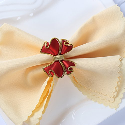 YCT Bow Napkin Rings for Wedding, Party, Holiday, Dinner Decor.A Set of 6. (red)