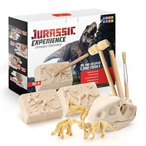 Kid Labsters Dino Dig Kit - Jurassic Experience Dinosaur Discovery - Dinosaur Fossil Digging Game Kit w/ Triceratops & Tyrannosaurus Rex Skeleton Toys & Tools - Kids Dino Sandbox Activity Set