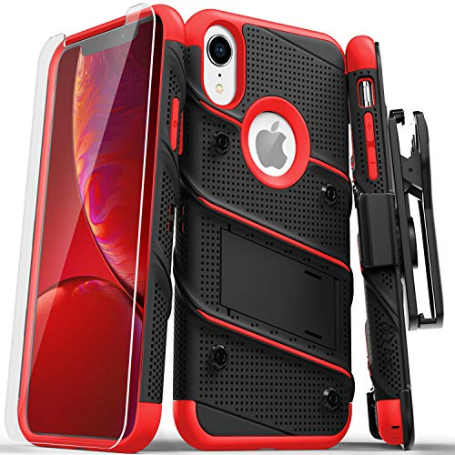 ZIZO Bolt Series for iPhone XR Case Military Grade Drop Tested with Tempered Glass Screen Protector Holster and Kickstand Black RED