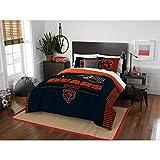 3 Piece NFL Bears Comforter Full Queen Set, Blue Orange Multi Football Themed Bedding Sports Patterned, Team Logo Fan Merchandise Athletic Team Spirit Fan, Polyester, for Unisex