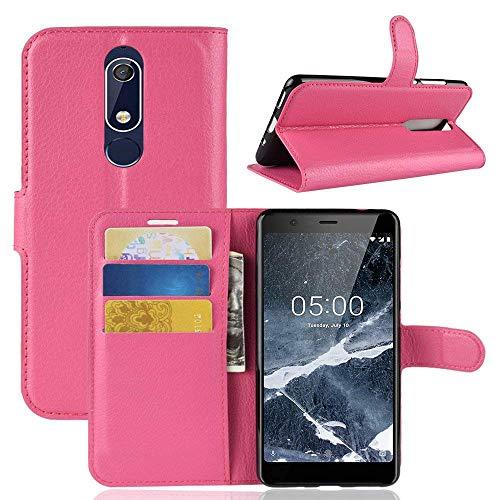 Lapinette Hülle Kompatibel mit Nokia 5.1 - Schutzhülle Klappbar Stoßfeste Folio - Lederhülle Nokia 5.1 - Wallet Kartenfächer Standfunktion Magnet Rosa