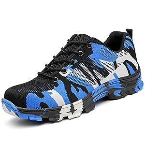 51Cpx70RRIL. SS300  - SUADEX Mujer Hombre Zapatillas de Seguridad Punta de Acero Camuflaje Zapatos de Trabajo Entrenador Unisex Zapatillas de Senderismo con Cordones Ligeras