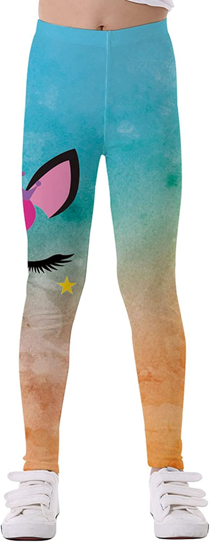 easyforever Girls Kids Soft Leggings Cartoon Print High Waist Slim Ankle Length Tights Shiny Dance Trousers