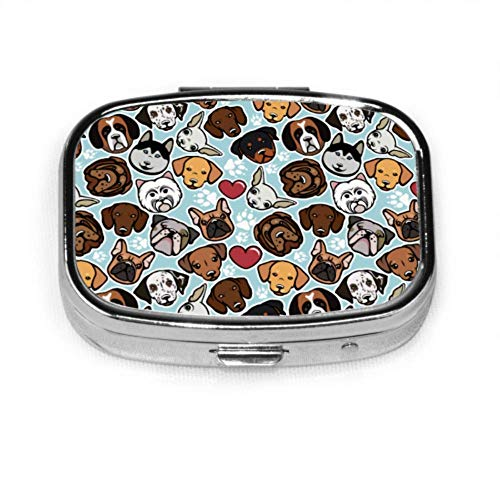 Seamless Pattern Dog Breeds Dog Collection Simple Pill Box Pill Case for Teens Organizer Case