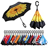 BAGAIL Double Layer Inverted Umbrellas Reverse Folding Umbrella Windproof UV Protection Big Straight