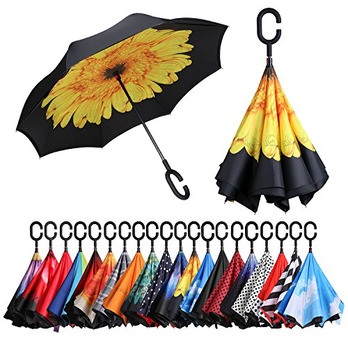 [Amazonブランド]Eono(イオーノ)傘 逆さ傘 逆転傘 逆折り式傘セルフ スタンディング 防風 UV 保護 トラベル 傘 車 雨 と アウトドア用 C シェイプ ハンドル ズ サンフラワー