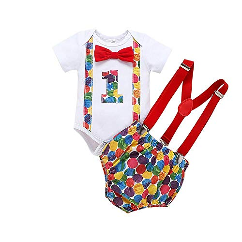 Baby Boys 1st Birthday Cake Smash Caterpillar Outfit Romper Bloomers Suspenders 3PCS Clothes Set Photo Props Costume Colorful Polka Dots (1) 0-3 Months