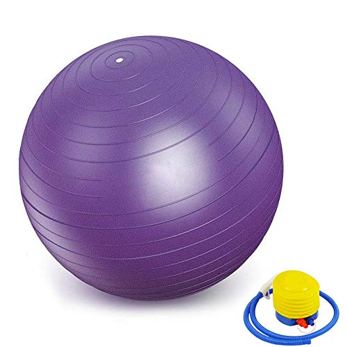 Fitness - Mini pelota de gimnasia para yoga, pilates, fitness, entrenamiento, gimnasio y ejercicio físico – Adecuado para hombres y mujeres 35cm morado
