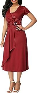 Minetom Hochzeit Festlich Geschäft Kleider Damen V-Ausschnitt Kurzarm A-Linie Midi Kleid Elegant Asymmetrie Hohe Taille Cocktailkleid Partykleid
