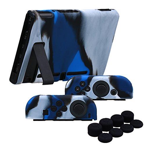 YoRHa Empuñadura Silicona Caso Piel Fundas Protectores Cubierta para Nintendo Switch/NS/NX Joy-con Mando y Tableta x 3 (Camuflaje Azul) con Joy-con los puños Pulgar Thumb gripsx 8