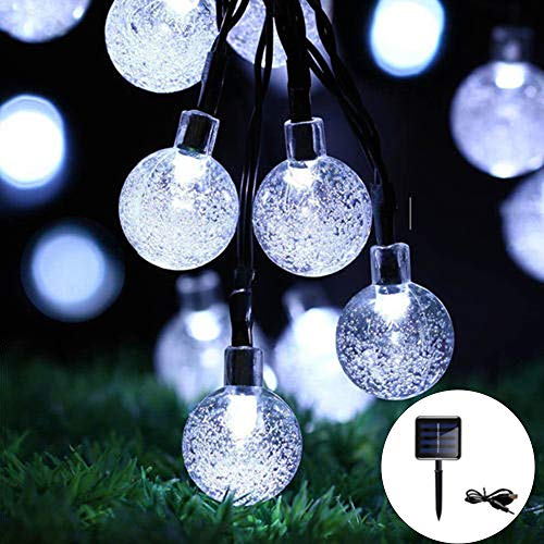 Globe Solar String Lights with USB Charging,30LED Solar Garden Lights,8 Mode 6.5M/21Ft Outdoor Waterproof Crystal Balls Fairy String Lights for Garden Patio Yard Home Wedding Christmas (Cold White)