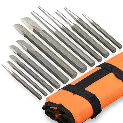 NEIKO 02623A Cold Chisel and Punch Set | 12 Piece | Cr-V Steel | Remove Pins and Bushings | Cut or Split Steel Objects