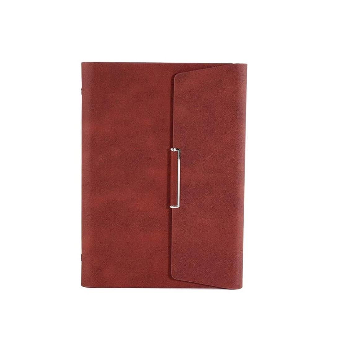 A5ルーズリーフノート、多機能ビジネスノート、作業ログ6穴ルーズリーフコア効率マニュアル、シンプルな日記、グレー/ブラウン/オレンジ/ブルー/ブラック、高品質 (Color : Brown)