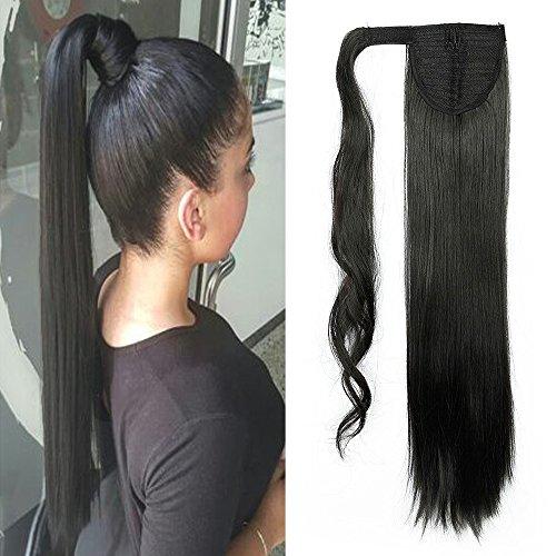 """Elailite 23"""" Coda Capelli Extension di Cavallo Clip in Hair Lisci Parrucchino Ponytail Wrap Around Estensioni 58cm-120g, 1B# Nero Naturale"""