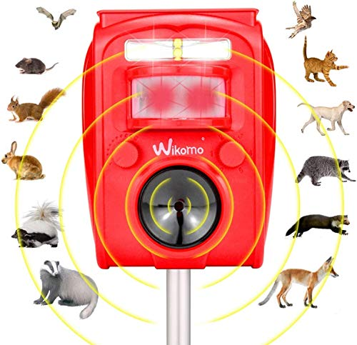 Animal Repeller Solar Powered Waterproof, Motion Sensor and Flashing Light Outdoor Red Repeller Garden Farm Deterrent for Cats, Dogs, Squirrels, Groundhog, Rats, Racoon, Deer (Red)