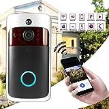 Seasaleshop Timbre de vídeo WiFi inalámbrico Smart Timbre 720P HD Cámara de Seguridad, vídeo en Tiempo Real y walkie Talkie bidireccionales, Control de Aplicaciones Android y iOS