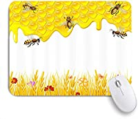 NINEHASA 可愛いマウスパッド 蜂の幾何学的なハニカム蜂の巣とカモミールの花春の花をテーマにした蜂蜜のプリント ノンスリップゴムバッキングコンピューターマウスパッドノートブックマウスマット