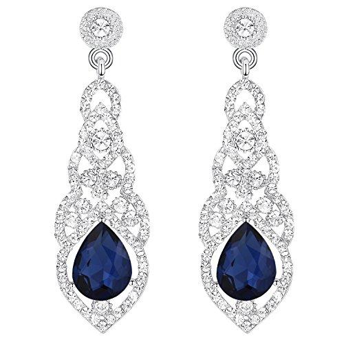 Pendientes de Mujer - Clearine Aretes Forma de Encaje Lágrima, Cristal Estilo Precioso para Boda Novia Fiesta Azul