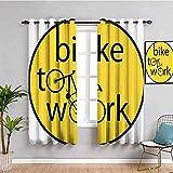 MENGBB Cortina Opaca Microfibra Infantil - Simple amarillo bicicleta inglés - 90% Opaca Cortina aislantes de frío y Calor - 280x260cm Decorativa con Ojales Estilo para Salón Habitación y Dormitorio