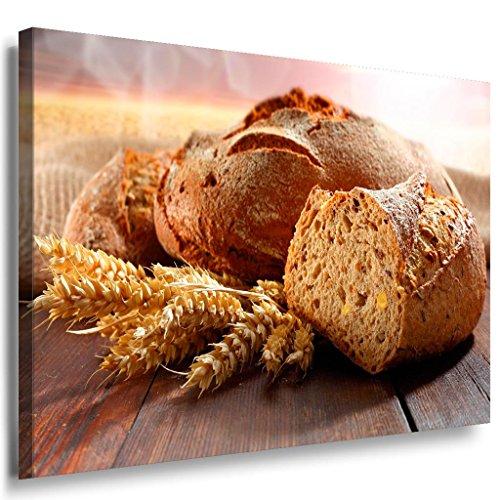 Stück Brot Weizen Leinwandbild / LaraArt Bilder / Leinwand Bild + Mehrfarbig + Kunstdruck k41-3 Wandbild 70 x 50 cm