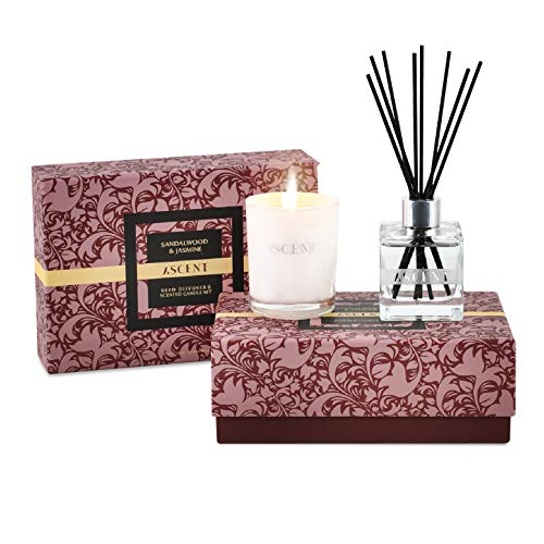 Reed Diffuser Set & Scented Candle | Essential Oil Reed Diffuser Sandalwood Jasmine | Room Fragrance Reed Diffuser Gift Set in Luxury Box | Large Reed Diffuser with Scent Sticks 4fl.oz | Candle 5oz
