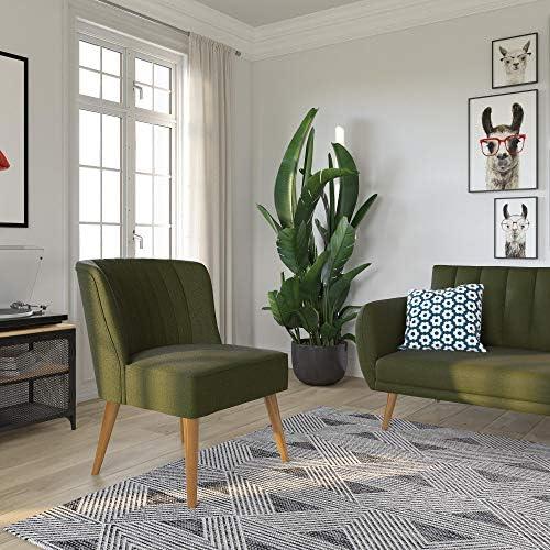 Best Novogratz Brittany Upholstered Accent, Green Linen Chair