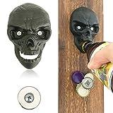 WODEGIFT Bottle Opener Wall Mounted Cast Iron With Magnetic Cap Catcher Bottle opener ,Party ,Halloween Gift (Black)