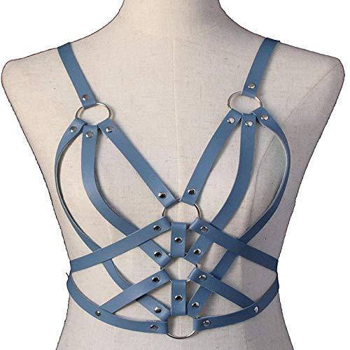 xiangpi Neue Leder Brustkette Taille Kette Punk-Stil mehrschichtige handgefertigte PU Schmuck Korsett Riemen Gürtel 1St-Himmelblau_80-100cm