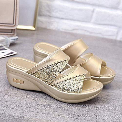 CCJW Sandalias clásicas cómodas, sandalias de cuña exterior y pantuflas cómodas, sandalias de mujer doradas_40, sandalias de dedo abierto para mujer kshu