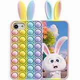 ESSTORE Funda para iPhone SE 2020/8/7/6s/6, empuje burbuja sensorial Fidget juguete caso estrés ansiedad alivio protección cubierta + soporte, orejas de conejo