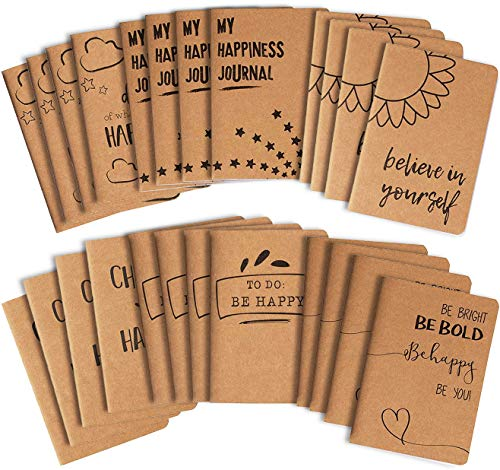 Kraft Paper Notebook, Happy Journal (4 x 5.75 in, 24 Pack)
