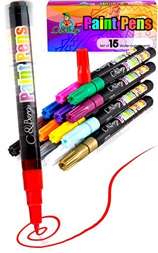 15 Paint Pens - Paint Marker Pens, Water Based Colors for Kids Adults, Sun - Water Resistant Fine Point, Paint on Rock, Wood, Glass, Ceramic, Metal, Clothes, Skin - Almost All Surfaces Model 2020