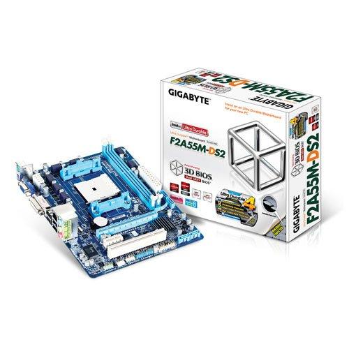 Gigabyte GA-F2A55M-DS2 Mainboard Sockel FM2+ (Micro-ATX, AMD A55, 2X DDR3-Speicher, 4X SATA II, DVI-D, RJ-45, 4X USB 2.0)
