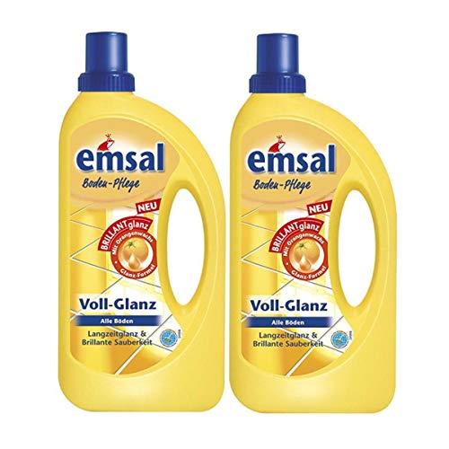 2x emsal Boden-Pflege Voll-Glanz 1 Liter, Langzeitglanz & Brillante Sauberkeit mit Orangenwachs