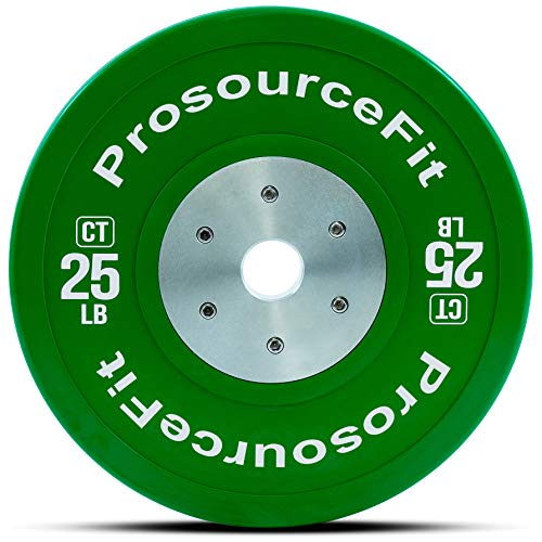 ProsourceFit Fit Competition Color Training Bumper Plates, Rubber with Steel Insert, 25lb, Calibrated for CrossFit, Power Lifting, Weight Training