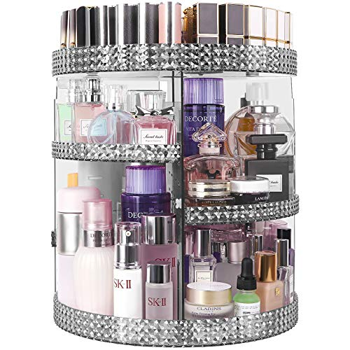 HEMTROY Rotating Makeup Organizer 360 Degree, 7 Layers Adjustable Storage For Cosmetics,Perfume,Plus Size, Large Capacity Cosmetic Storage Organizer Best for Bathroom,Countertop and Vanity, Gray