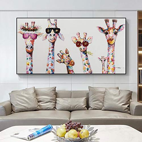 ZXWL Abstrakte Giraffe Familie Graffiti Kunst Leinwand Gemälde an der Wand Kunst Poster und Drucke Tiere Street Art Bild für Kinderzimmer 70x140cm Rahmenlos