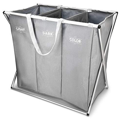 Navaris Wäschekorb 3 Fächer Wäschesammler Sortierer - Wäsche Korb für Schmutzwäsche - Hell Dunkel Bunt Design - Wäschebox 65x38x55cm in Grau