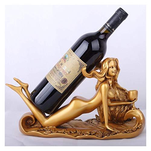 DHTOMC Estante de exhibición de vino hecho a mano de belleza elegante chica hogar bar accesorios de resina titular de vino manualidades chica armario de vino accesorios de decoración (color: oro)