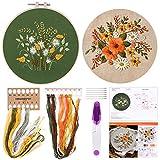 FEPITO 2 juegos de gama completa con patrón e instrucciones El kit de punto de cruz incluye 2 piezas de ropa de bordado con patrón floral, 1 pieza de aros de plástico para bordar, 1 pieza de tijera