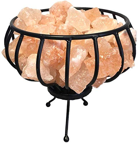Feuerschale Metallkorb mit Salzkristall Brocken vom Fuße des Himalaya inkl. Elektrik und Glühbirne 25W