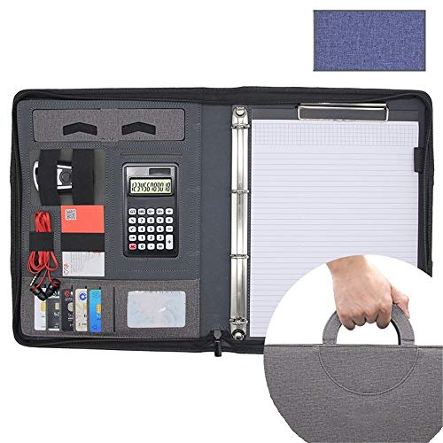 Candicely Business Office-Ordner A4 Zipper PU-Leder Konferenzmappe Kombinationsfalzapparat Zwischenablage Dateiablage mit Energien-Bank Lebenslauf Portfolio Folder Interview Document Org